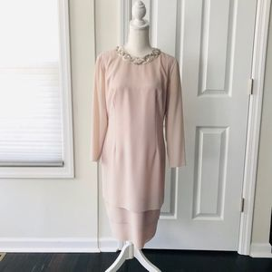 Ursula of Switzerland Nude Blush Beaded Neck Gown